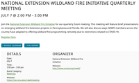 National Extension Wildland Fire Initiative Quarterly Meeting