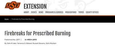 Firebreaks for Prescribed Burning