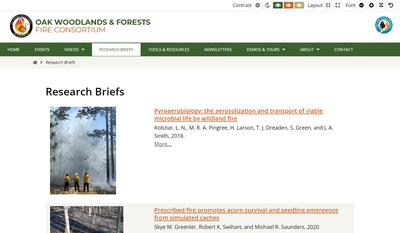Oak Woodlands & Forests Fire Consortium Research Briefs