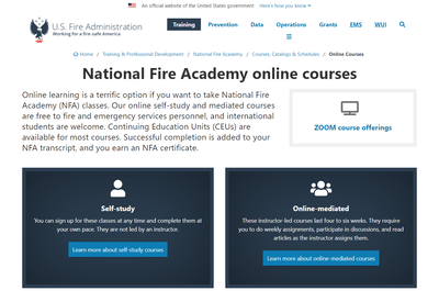 National Fire Academy online courses