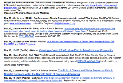 Pacific Region Climate Change Learning Opportunities - Nov 2014 Issue