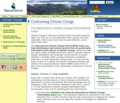 NatureServe Climate Vulnerability Index