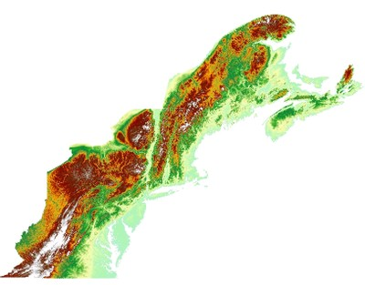Digital Elevation Model, Northern Appalachian