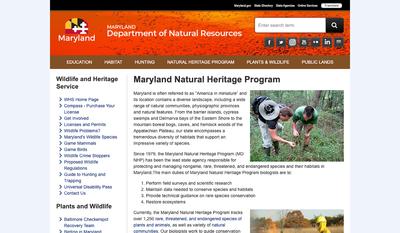 Maryland Department of Natural Resources - Natural Heritage Program