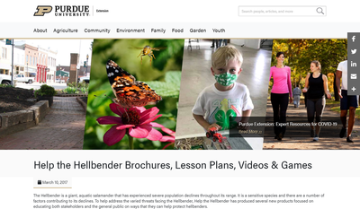 Purdue University Help the Hellbender Brochures, Lesson Plans, Videos & Games