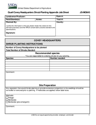 645 Covey Headquarters Planning Job Sheet (MO example)