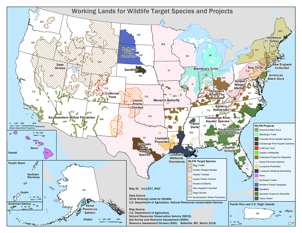 WLFW Target Species and Projects Map