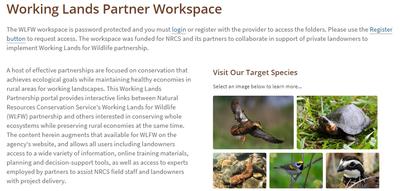 Working Lands for Wildlife Partner Workspace