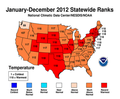 2012 was Warmest and Second Most Extreme Year on Record for the Contiguous U.S.