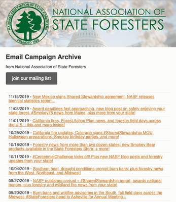 National Association of State Foresters Weekly Newsletter