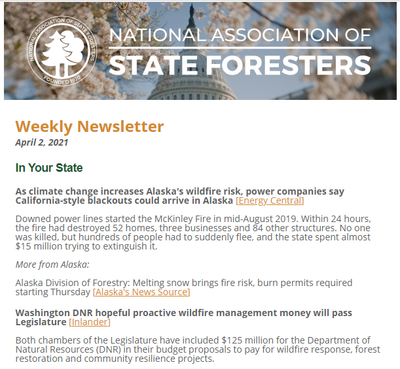 National Association of State Foresters Weekly Newsletter April 2, 2021