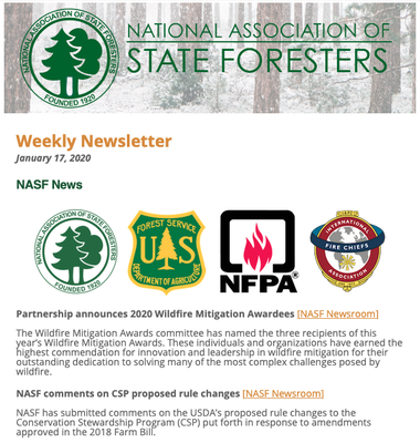 National Association of State Foresters Weekly Newsletter January 17, 2020