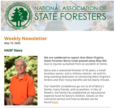 National Association of State Foresters Weekly Newsletter May 15, 2020