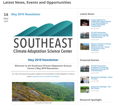 Southeast Climate Adaptation Science Center May 2019 Newsletter