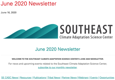 Southeast Climate Adaptation Science Center Newsletter June, 2020