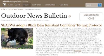 Wildlife Management Institute Outdoor News Bulletin November 2019