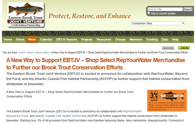 A New Way to Support EBTJV-Shop Select RepYourWater Merchandise to Further our Brook Trout Conservation Efforts