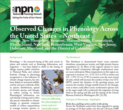 Observed Changes in Phenology Across the United States - Northeast