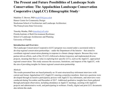 Executive Summary - Present and Future Possibilities of Landscape Scale Conservation