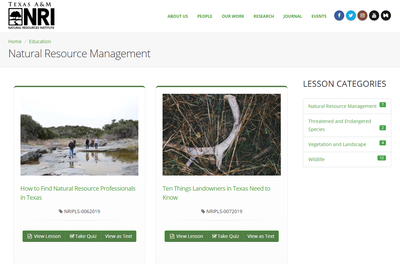 Private Land Stewardship Academy: Natural Resource Management Lessons